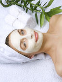 Beautiful Woman Getting Spa. Clay Facial Mask. Dayspa — Stock Photo