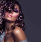 Fashion Beauty Portrait. Sexy Girl .Wavy Hair — Stock Photo