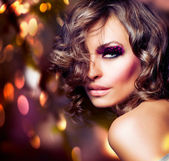 Fashion Beauty Portrait. Sexy Girl. Holiday Makeup — Stock Photo