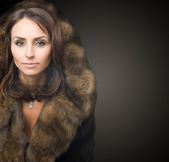 Beautiful Young Woman In Luxury Mink Coat — Stock Photo