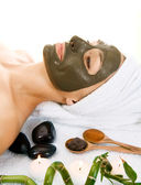 Spa. Mud Mask On The Face. Isolated On White — Stock Photo