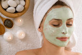 Spa Facial Mask. Dayspa — Stock Photo