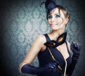 Retro Beauty. Celebrating. Masquerade — Stock Photo