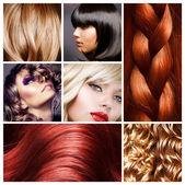 Vlasy koláž. účesy — Stock fotografie