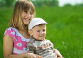 Happy Kids. Sister And Brother Outdoor — Stock Photo