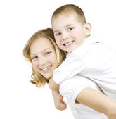 Happy Kids Sister And Brother Having Fun — Stock Photo