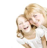 Mother With Teenage Daughter Over White. Happy Family — Stock Photo