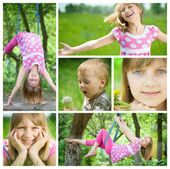Happy Kids Having Fun Outdoor Collage — Stock Photo