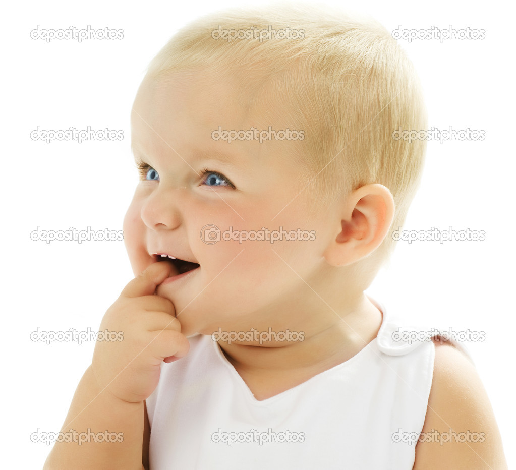 Cute Baby Girl Touching Her Teeth — Stock Photo #10746669