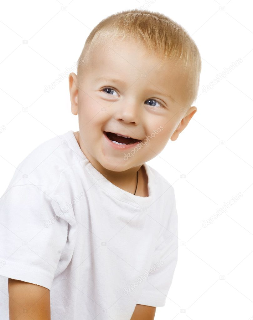 Happy Cute Baby Boy over white — Stockfoto #10746688