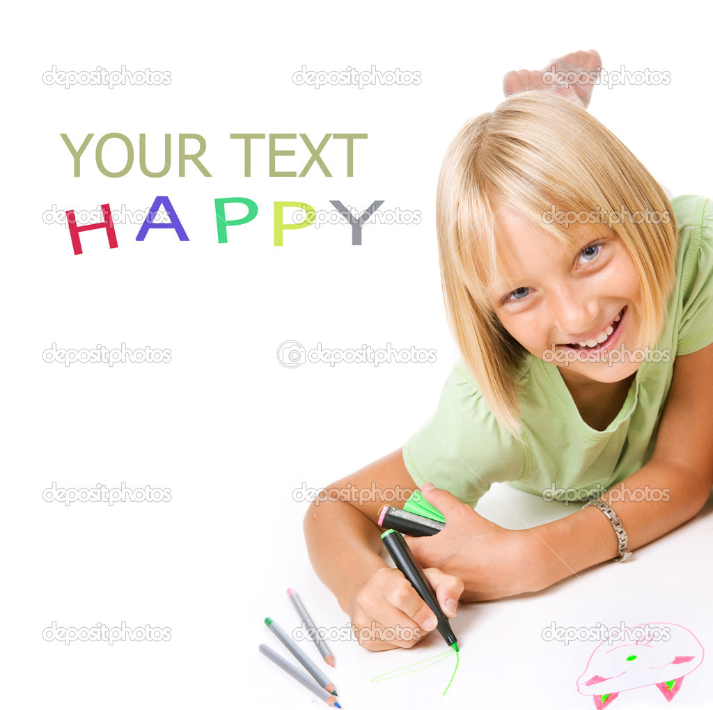 Happy Little Girl Drawing  Stock Photo #10746744