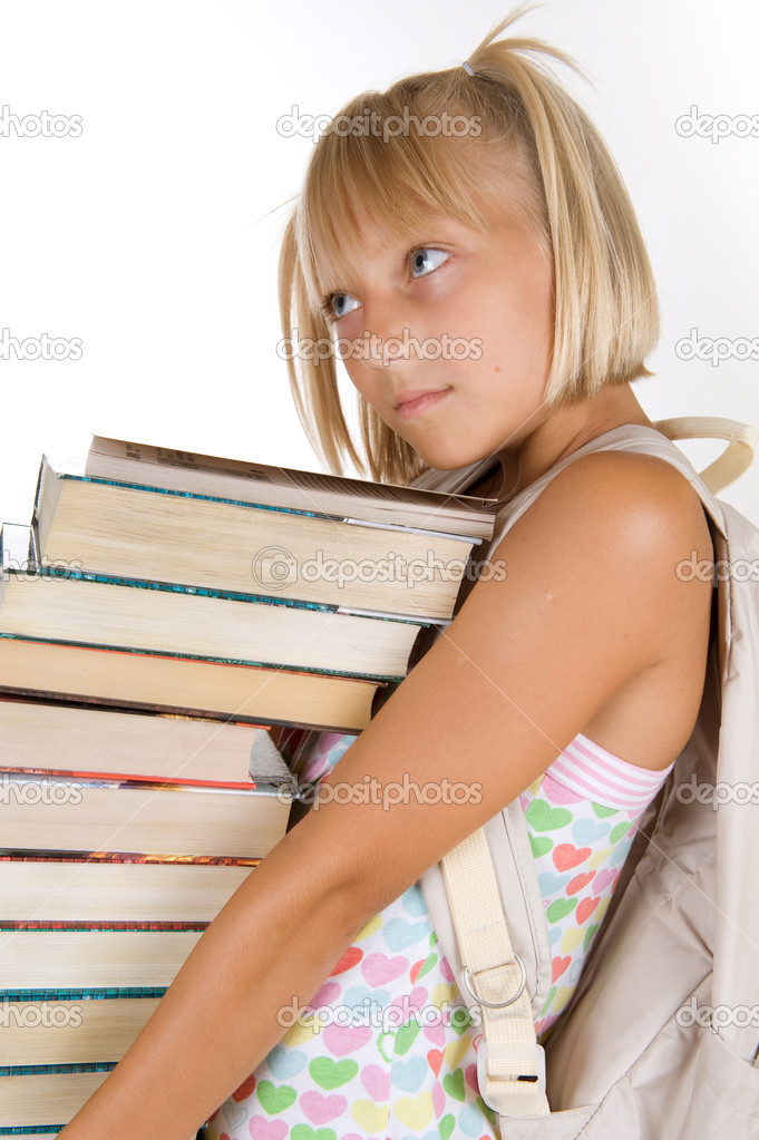 Back To School. Little Schoolgirl With Heavy Books — Stock Photo #10746795