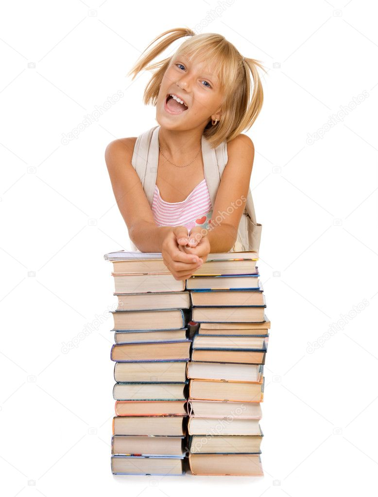 Back To School Concept. School Girl Above The Heap Of Books — Stock Photo #10746808