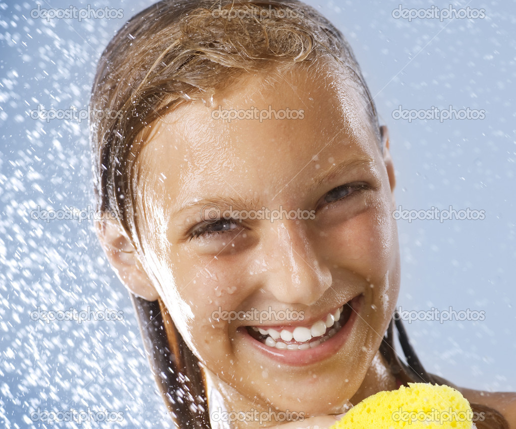 Happy Teen Girl Taking Shower. Bath. Healthy Skin.Washing
