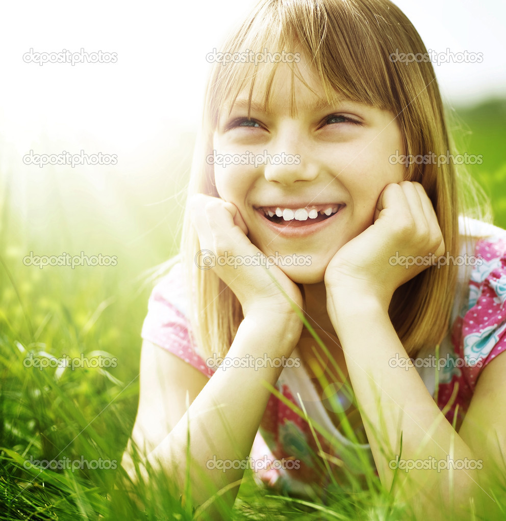 Happy Little Girl Outdoor  Stock Photo #10746964