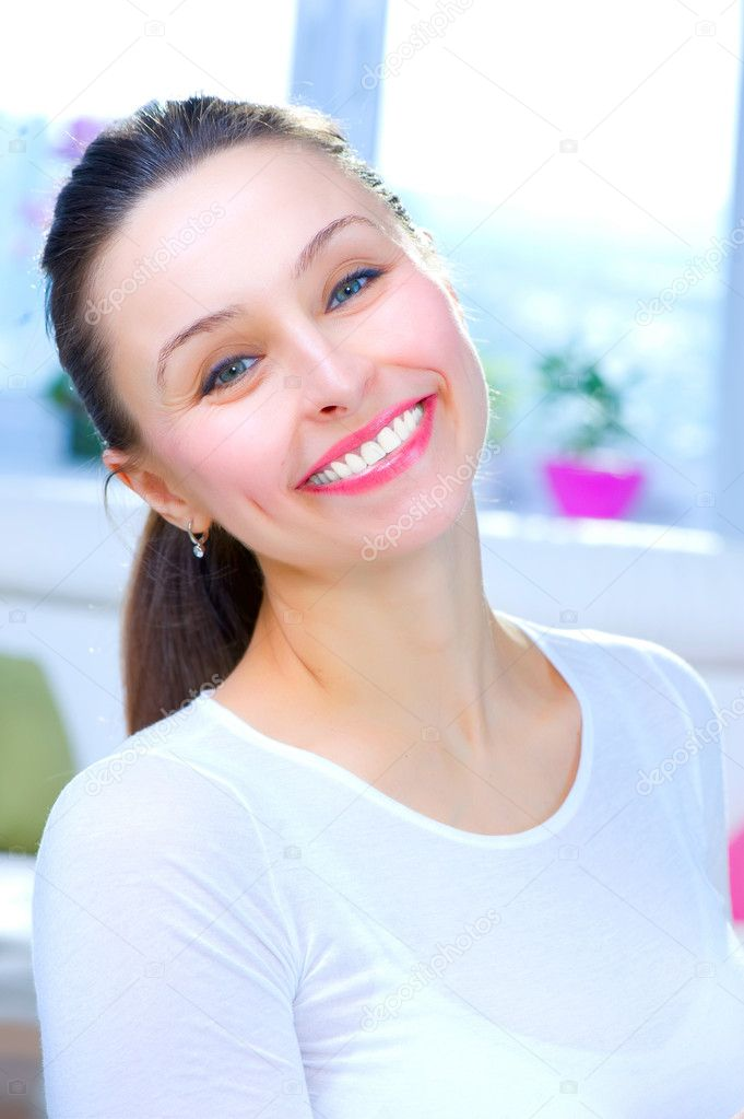 Happy Young Woman Portrait. Smile  Stock Photo #10747133