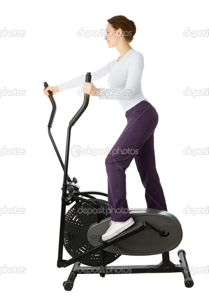 Young Woman Doing Cardio Exercise. Isolated On White — Stock Photo #10747292