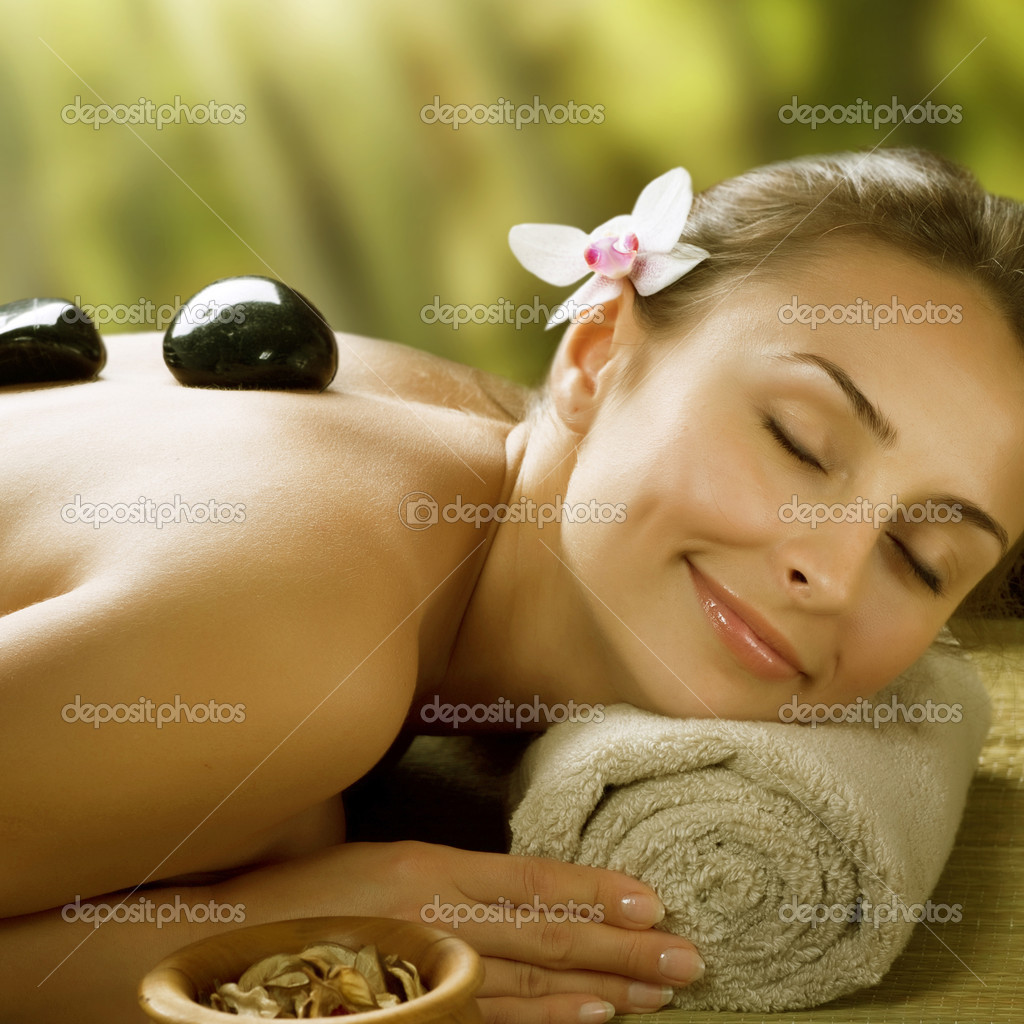 Spa Outdoor. Stone Massage — Stock Photo #10747685