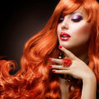 Wavy Red Hair. Fashion Girl Portrait. - Zdjęcie stockowe