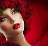 Fashion Model Portrait with Red Roses — Stock Photo