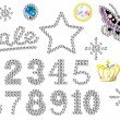 Stock Vector: Rhinestone numbers