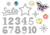 Rhinestone numbers — Stock Vector
