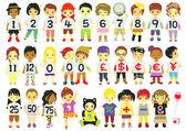 Number kids — Stock Vector
