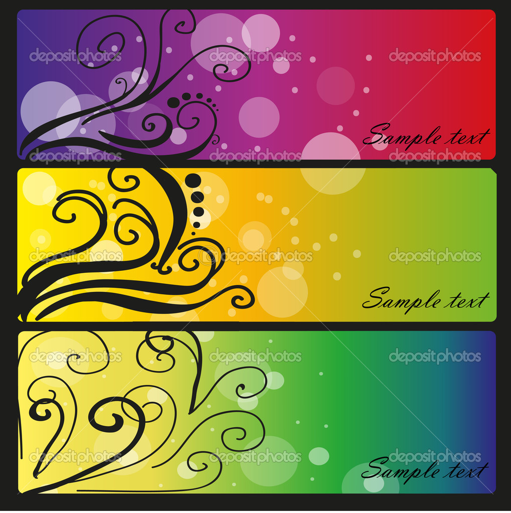 Four colored banners with bubbles — Stock Vector #9801385
