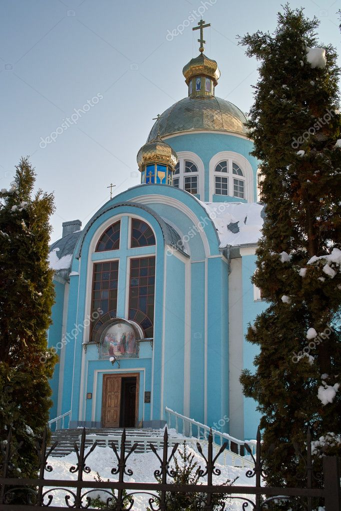 Church facade in winter sunny day — Stock Photo #10021379