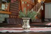 Spruce branch in a folk vase — Stock Photo