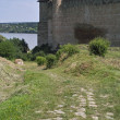 Stock Photo: Towers of medieval fortress and cobble pathway