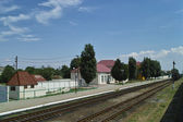 Small railroad station in summer — Stock Photo