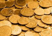 Gold coins as a background or texture — Stock Photo