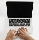 Using laptop — Stock Photo