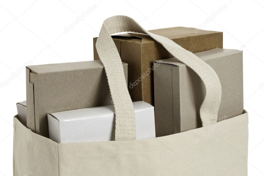 Cloth shopping bag with various cardboard boxes. ProPhotoRGB color space, clipping path included  Stock Photo #9637810