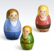 Vector illustration of a family dolls — Stock Photo