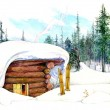 Illustration of a winter house — Stock Photo #9675770