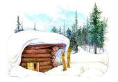 Illustration of a winter house — Stock Photo