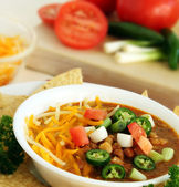 Delicious Bowl of Spicy Jalapeno Chili — Stock Photo