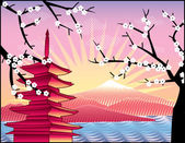 Fuji mount, sakura tree and Japan pagoda — Stock Photo