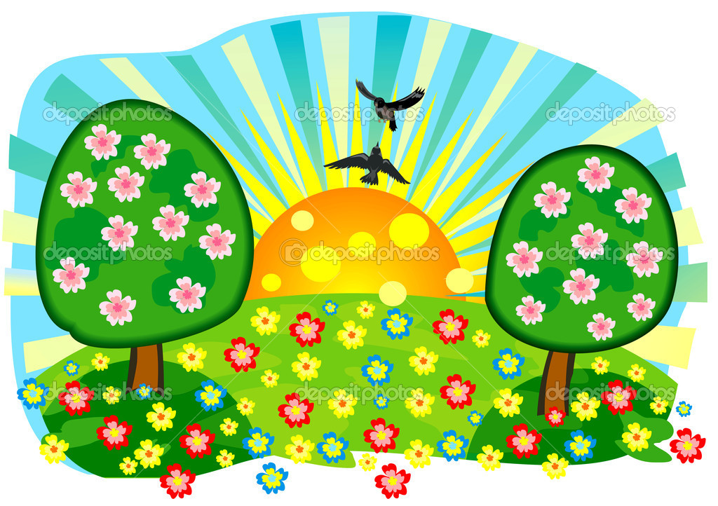 Beautiful vector summer meadow with flowers and trees  Stock Vector #10685524