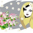 Royalty-Free Stock Vector Image: Beautiful woman face with flowers