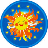 Logo smiling sun — Stock Vector