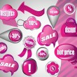 Stock Vector: Sale pink icons collection