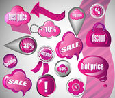Sale pink icons collection — Stock Vector
