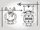 Capelli salone vecchia segnaletica — Vettoriale Stock