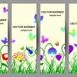 Stock Vector: Spring banners with flowers and butterflies