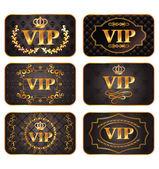 Set van gouden vip-kaarten met patroon — Stockvector