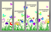 Spring banners with flowers and butterflies — Stock Vector