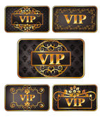 Five gold vip cards with pattern — Stock Vector